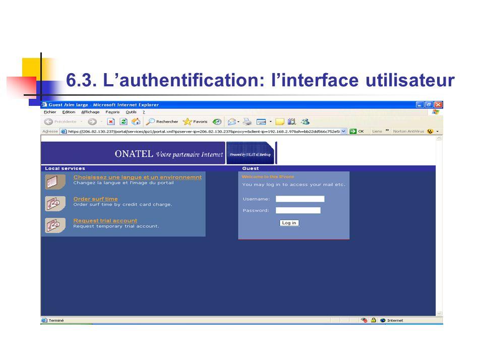 6.3. Lauthentification: linterface utilisateur