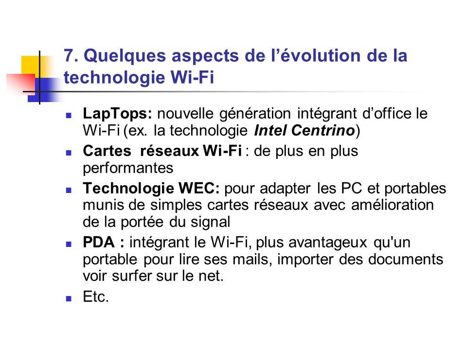7. Quelques aspects de lévolution de la technologie Wi-Fi LapTops: nouvelle génération intégrant doffice le Wi-Fi (ex. la technologie Intel Centrino)