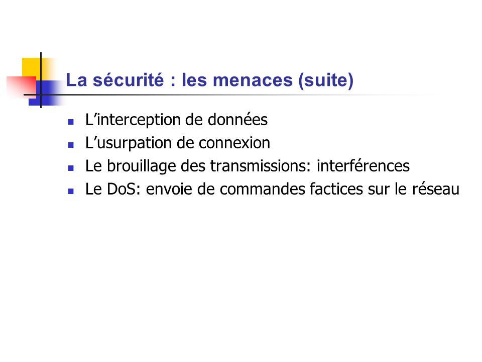 La sécurité : les menaces (suite) Linterception de données Lusurpation de connexion Le brouillage des transmissions: interférences Le DoS: envoie de c