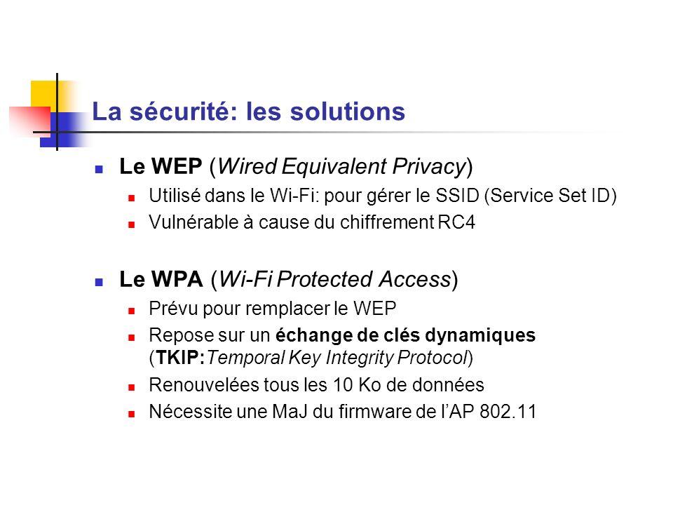 La sécurité: les solutions Le WEP (Wired Equivalent Privacy) Utilisé dans le Wi-Fi: pour gérer le SSID (Service Set ID) Vulnérable à cause du chiffrem