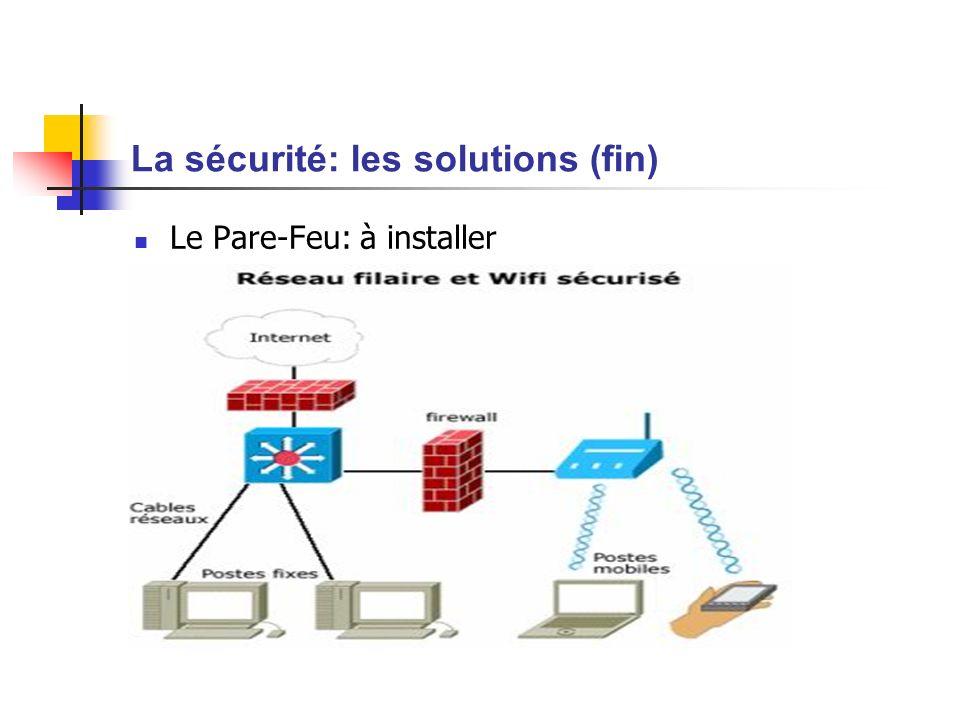La sécurité: les solutions (fin) Le Pare-Feu: à installer