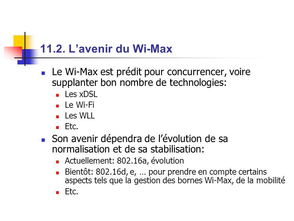 11.2. Lavenir du Wi-Max Le Wi-Max est prédit pour concurrencer, voire supplanter bon nombre de technologies: Les xDSL Le Wi-Fi Les WLL Etc. Son avenir