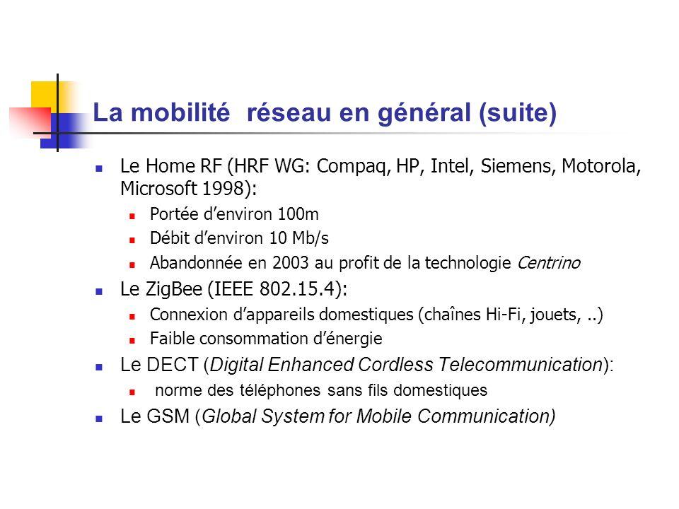 La mobilité réseau en général (fin) Le GPRS (General Packet Radio Service) Transmission de données via le réseau GSM LUMTS (Universal Mobile Telecommunication System) Téléphonie mobile de 3ème génération Le Wi-Max: plus de détails en fin de présentation Standard de réseau sans fils poussé par Intel avec Nokia, Fujitsu et Prowim Basé sur une bande de fréquence de 2 à 11 GHz Le WI-Fi: fera lobjet de la suite de notre présentation!