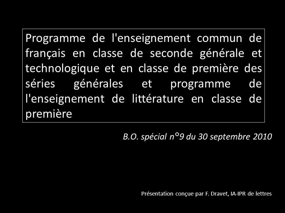 Programme de l'enseignement commun de français en classe de seconde générale et technologique et en classe de première des séries générales et program