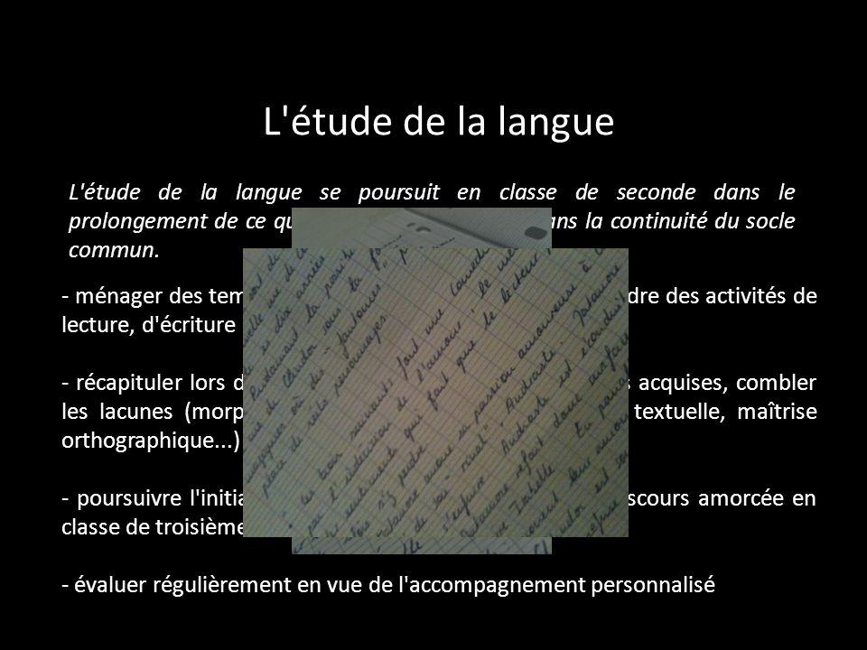 L'étude de la langue L'étude de la langue se poursuit en classe de seconde dans le prolongement de ce qui a été vu au collège et dans la continuité du