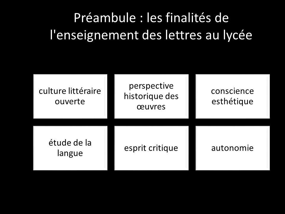 Préambule : les finalités de l'enseignement des lettres au lycée culture littéraire ouverte perspective historique des œuvres conscience esthétique ét