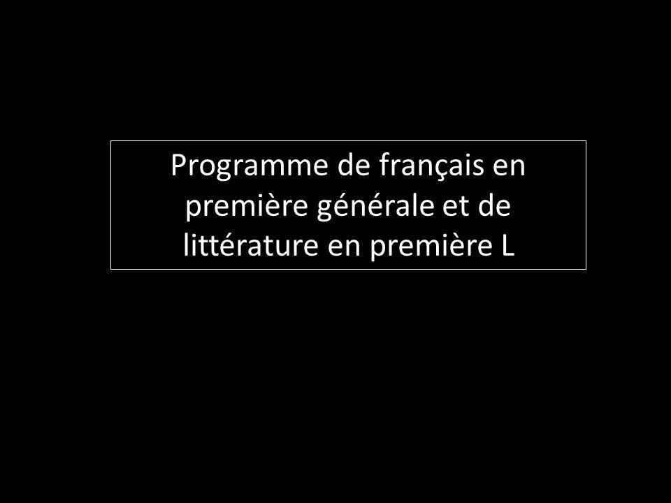 Programme de français en première générale et de littérature en première L