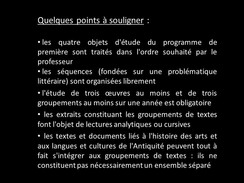 Quelques points à souligner : les quatre objets d'étude du programme de première sont traités dans l'ordre souhaité par le professeur les séquences (f