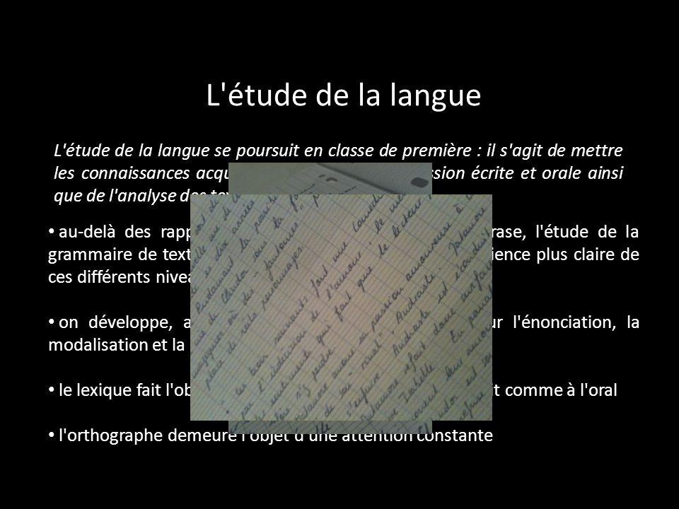 L'étude de la langue L'étude de la langue se poursuit en classe de première : il s'agit de mettre les connaissances acquises au service de l'expressio