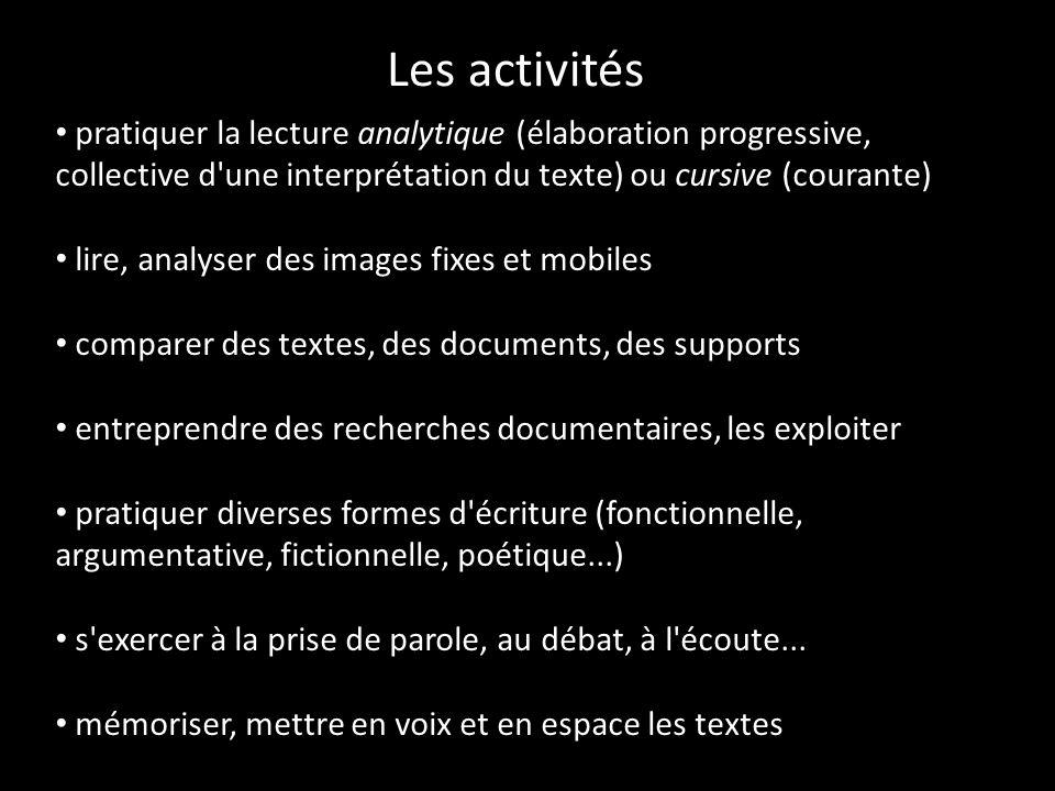 Les activités pratiquer la lecture analytique (élaboration progressive, collective d'une interprétation du texte) ou cursive (courante) lire, analyser