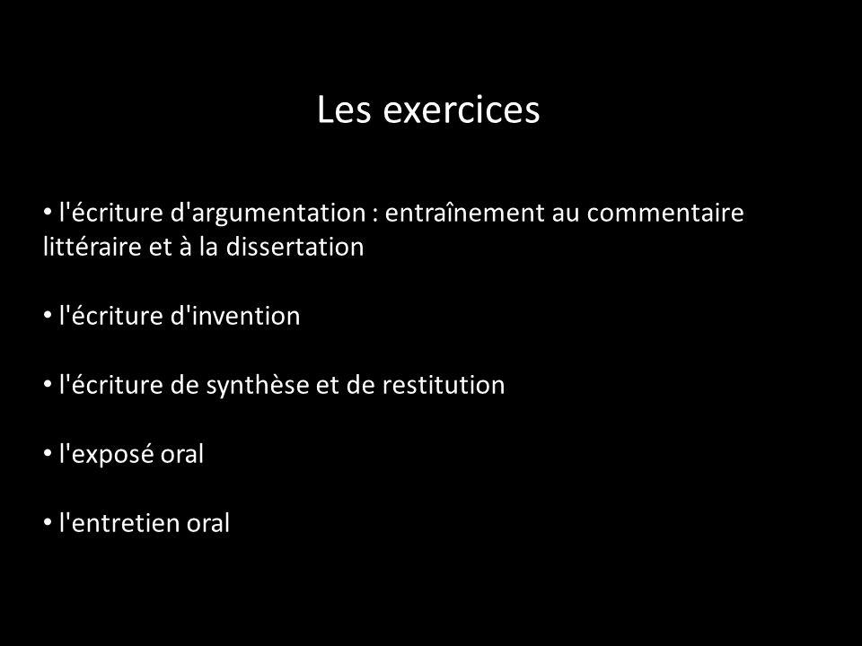 Les exercices l'écriture d'argumentation : entraînement au commentaire littéraire et à la dissertation l'écriture d'invention l'écriture de synthèse e