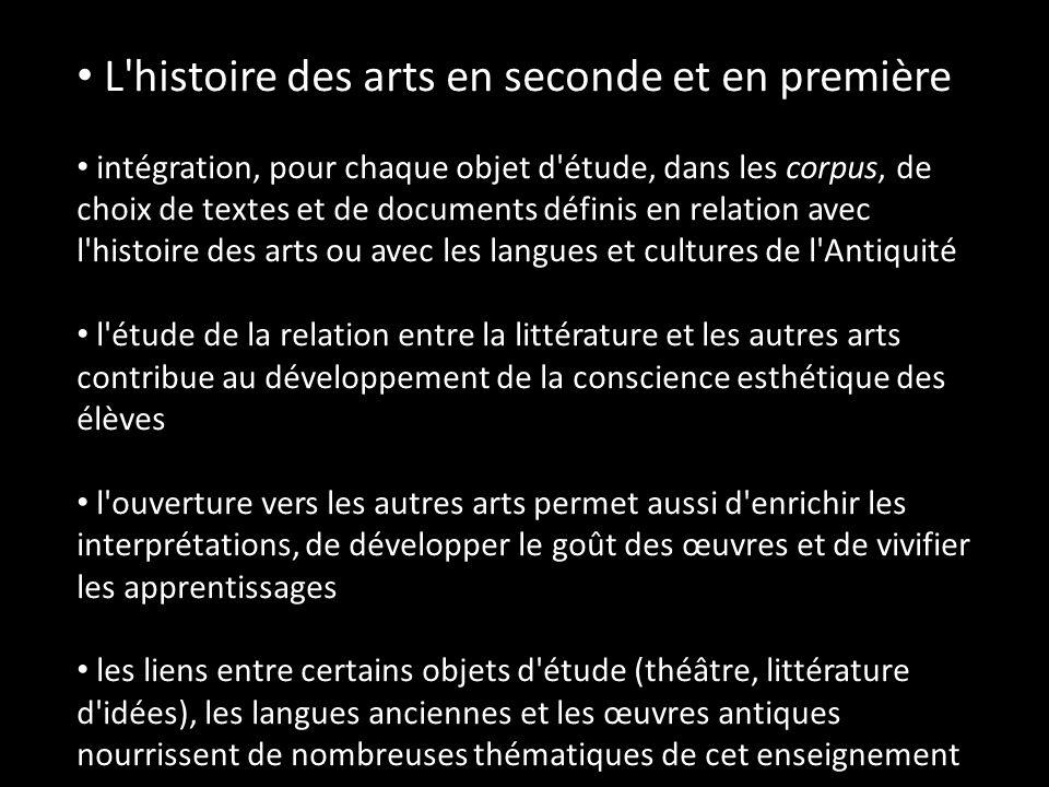 L'histoire des arts en seconde et en première intégration, pour chaque objet d'étude, dans les corpus, de choix de textes et de documents définis en r