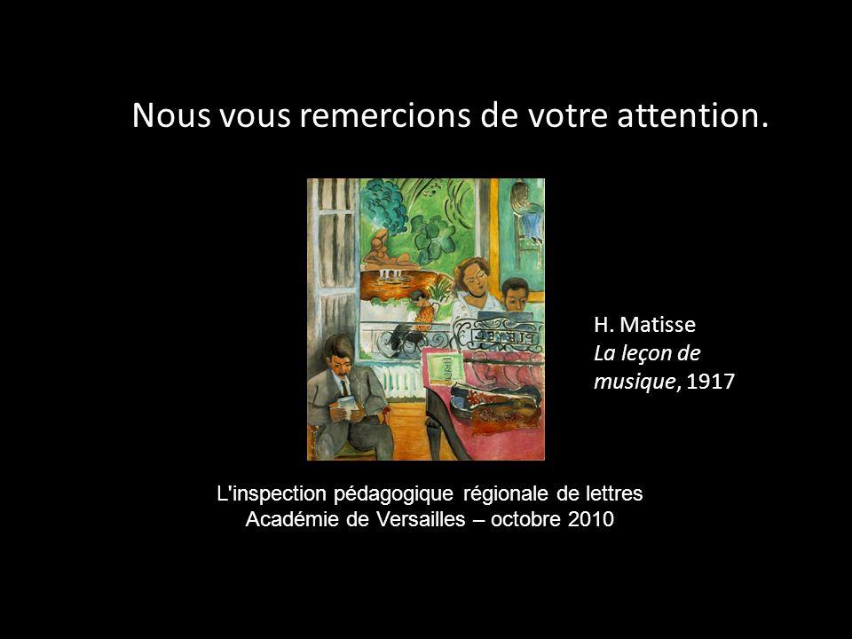 Nous vous remercions de votre attention. L'inspection pédagogique régionale de lettres Académie de Versailles – octobre 2010 H. Matisse La leçon de mu