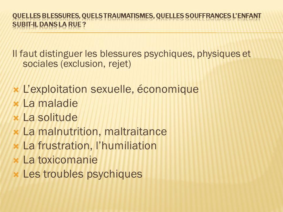 Il faut distinguer les blessures psychiques, physiques et sociales (exclusion, rejet) Lexploitation sexuelle, économique La maladie La solitude La mal