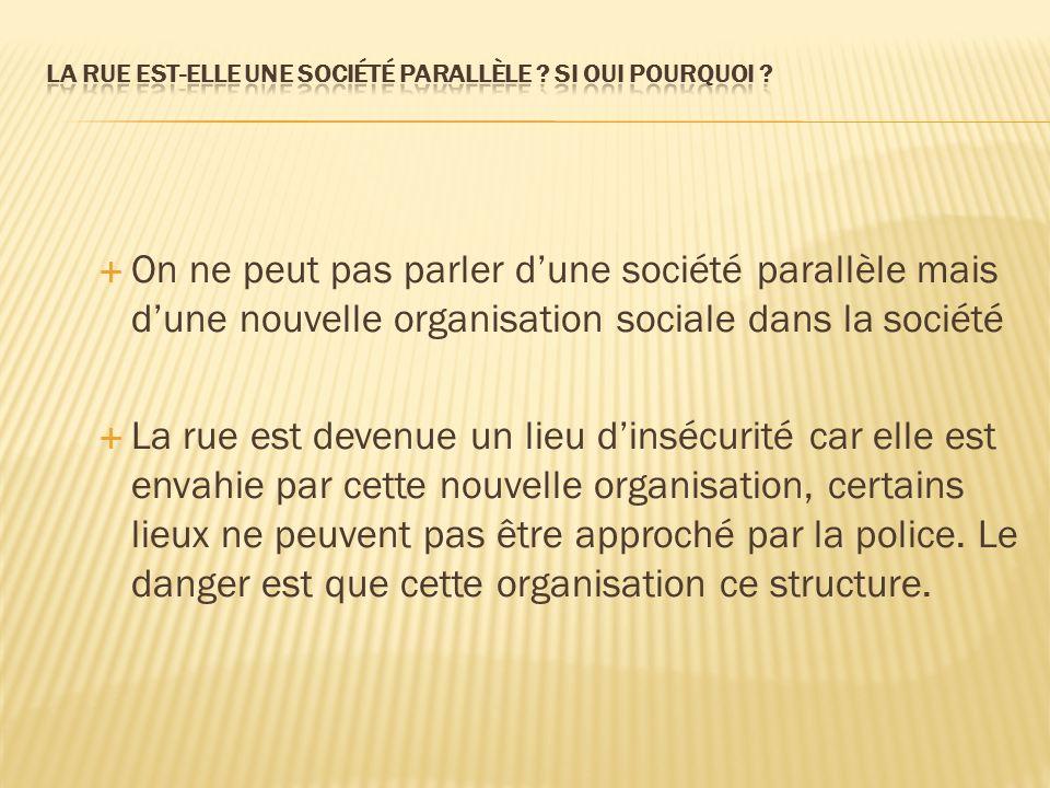 On ne peut pas parler dune société parallèle mais dune nouvelle organisation sociale dans la société La rue est devenue un lieu dinsécurité car elle est envahie par cette nouvelle organisation, certains lieux ne peuvent pas être approché par la police.
