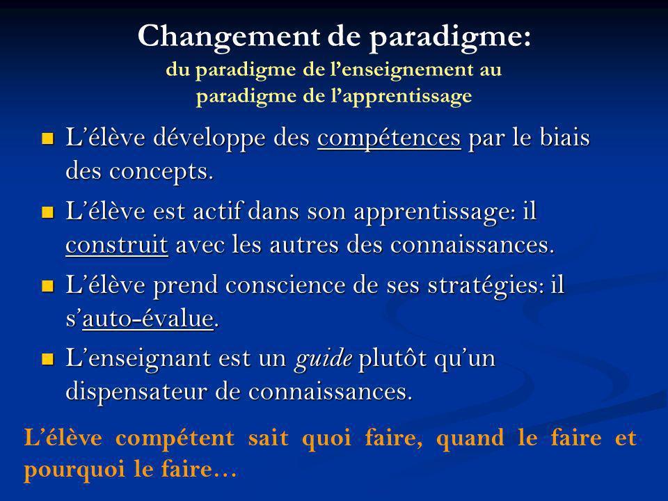 Changement de paradigme: du paradigme de lenseignement au paradigme de lapprentissage Lélève développe des compétences par le biais des concepts. Lélè