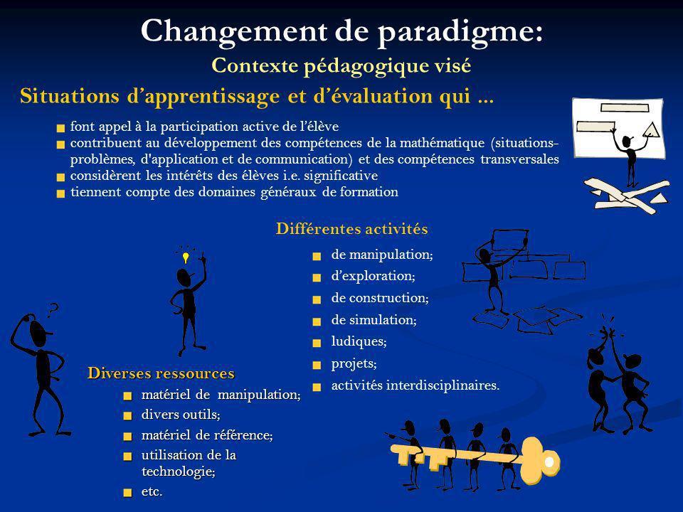 Différentes activités de manipulation; dexploration; de construction; de simulation; ludiques; projets; activités interdisciplinaires. Diverses ressou