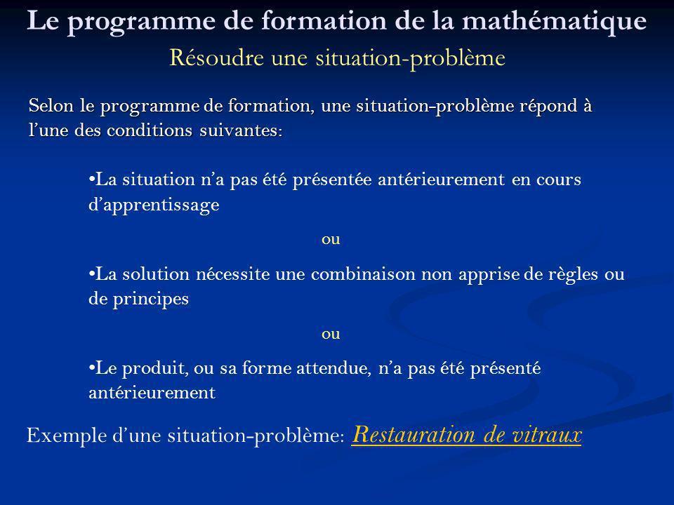 Selon le programme de formation, une situation-problème répond à lune des conditions suivantes: La situation na pas été présentée antérieurement en co