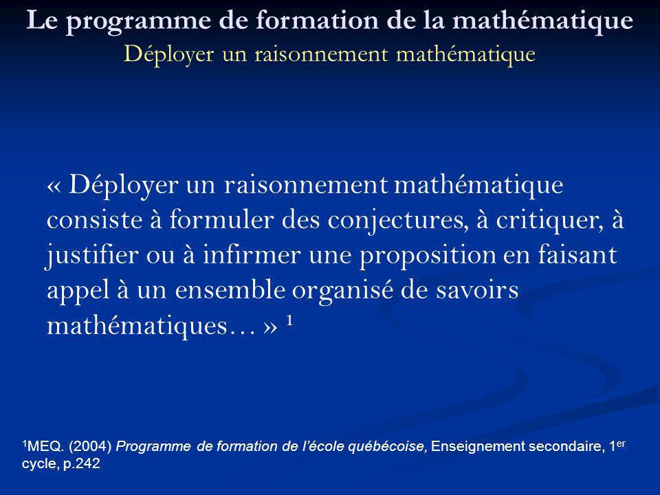 1 MEQ. (2004) Programme de formation de lécole québécoise, Enseignement secondaire, 1 er cycle, p.242 « Déployer un raisonnement mathématique consiste