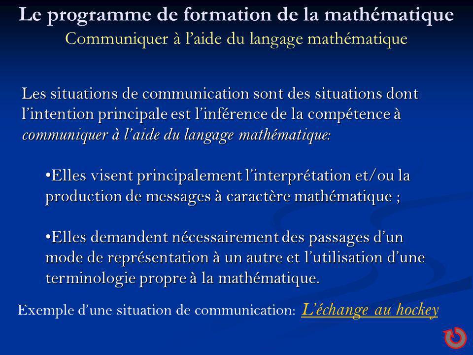 Les situations de communication sont des situations dont lintention principale est linférence de la compétence à communiquer à laide du langage mathém