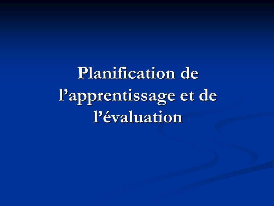 Planification de lapprentissage et de lévaluation