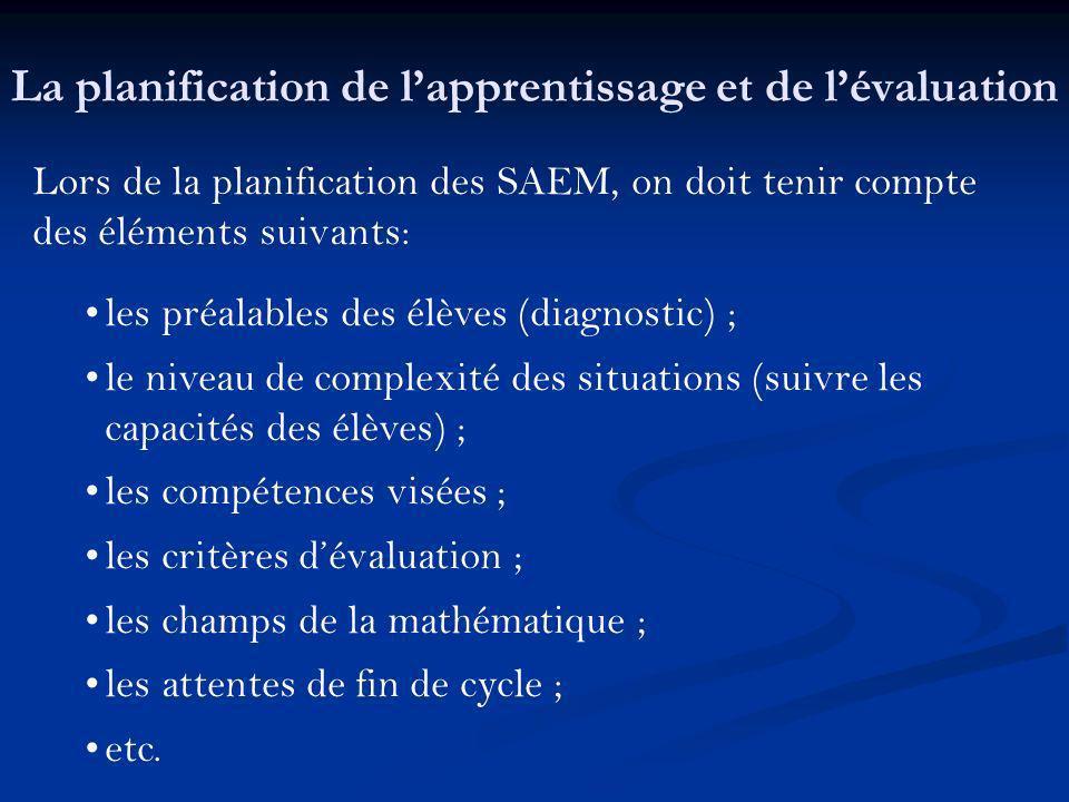 Lors de la planification des SAEM, on doit tenir compte des éléments suivants: les préalables des élèves (diagnostic) ; le niveau de complexité des si