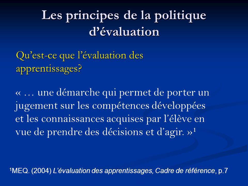 Les principes de la politique dévaluation Quest-ce que lévaluation des apprentissages? « … une démarche qui permet de porter un jugement sur les compé