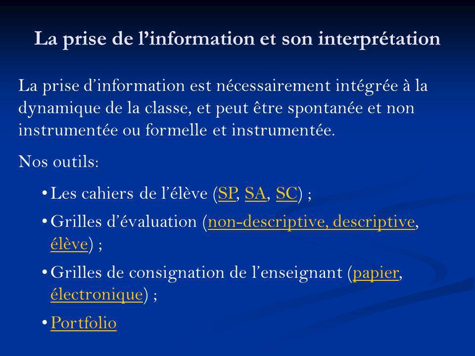 La prise dinformation est nécessairement intégrée à la dynamique de la classe, et peut être spontanée et non instrumentée ou formelle et instrumentée.