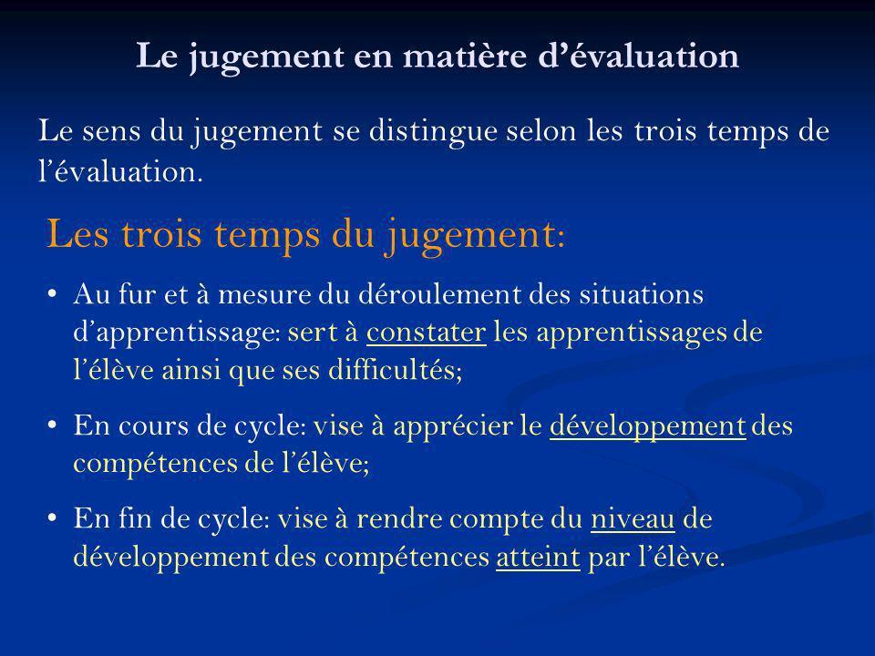 Le sens du jugement se distingue selon les trois temps de lévaluation. Les trois temps du jugement: Au fur et à mesure du déroulement des situations d