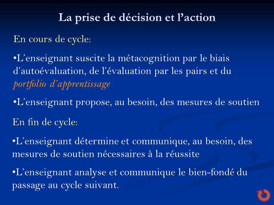 La prise de décision et laction En cours de cycle: Lenseignant suscite la métacognition par le biais dautoévaluation, de lévaluation par les pairs et