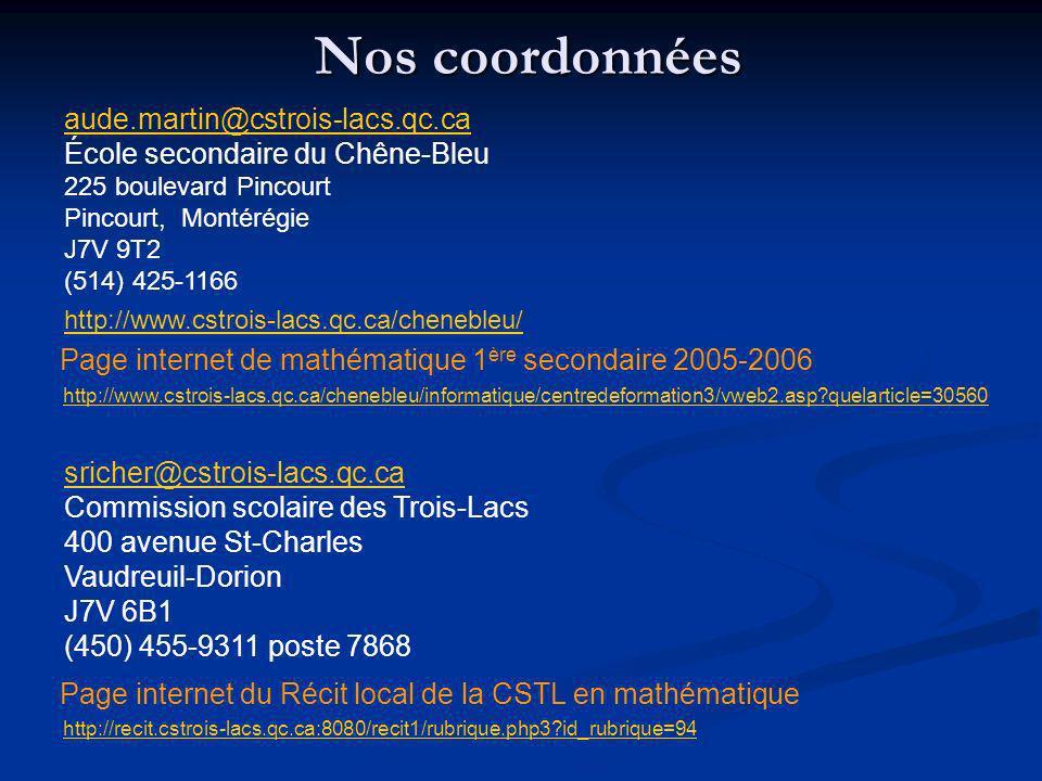 Nos coordonnées aude.martin@cstrois-lacs.qc.ca École secondaire du Chêne-Bleu 225 boulevard Pincourt Pincourt, Montérégie J7V 9T2 (514) 425-1166 http: