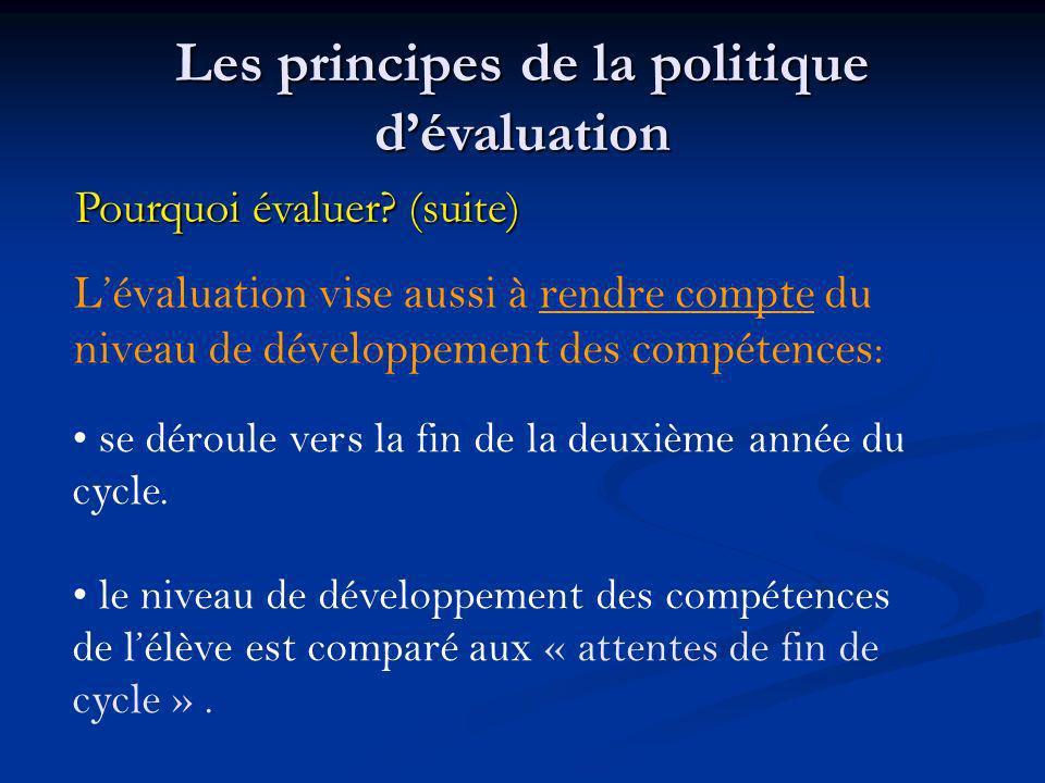 Lévaluation vise aussi à rendre compte du niveau de développement des compétences: se déroule vers la fin de la deuxième année du cycle. le niveau de
