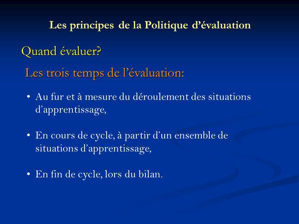 Quand évaluer? Les trois temps de lévaluation: Les principes de la Politique dévaluation Au fur et à mesure du déroulement des situations dapprentissa