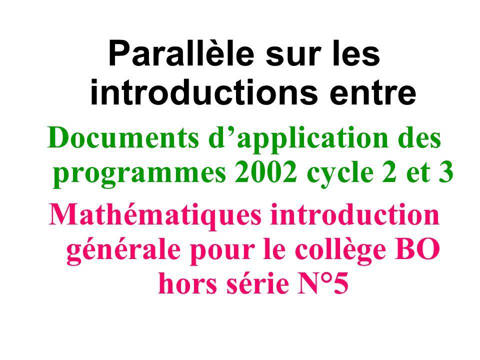 Parallèle sur les introductions entre Documents dapplication des programmes 2002 cycle 2 et 3 Mathématiques introduction générale pour le collège BO h