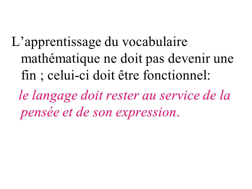 Lapprentissage du vocabulaire mathématique ne doit pas devenir une fin ; celui-ci doit être fonctionnel: le langage doit rester au service de la pensé