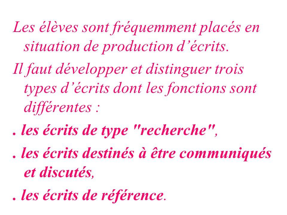 Les élèves sont fréquemment placés en situation de production décrits. Il faut développer et distinguer trois types décrits dont les fonctions sont di