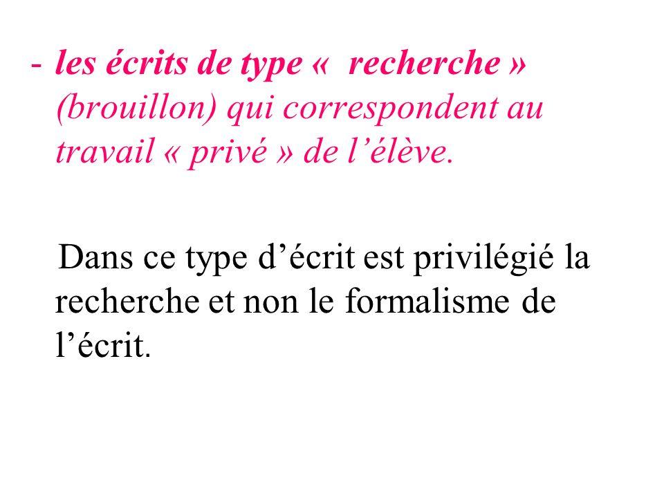 -les écrits de type « recherche » (brouillon) qui correspondent au travail « privé » de lélève. Dans ce type décrit est privilégié la recherche et non