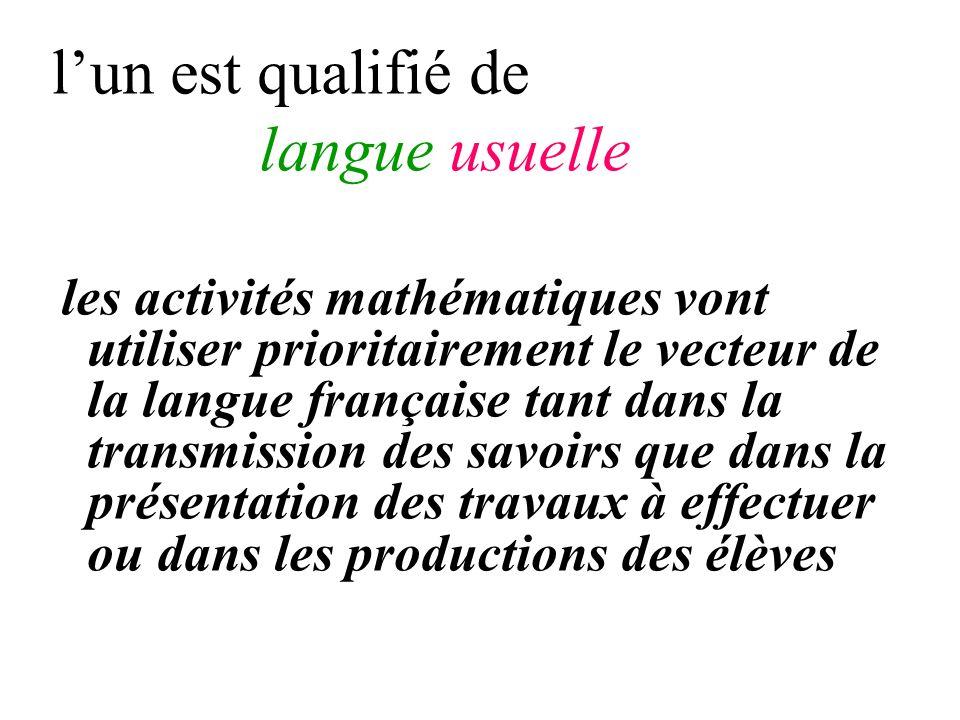 lun est qualifié de langue usuelle les activités mathématiques vont utiliser prioritairement le vecteur de la langue française tant dans la transmissi