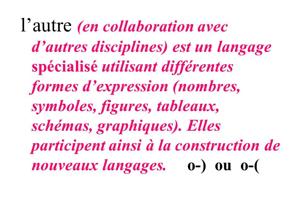 lautre (en collaboration avec dautres disciplines) est un langage spécialisé utilisant différentes formes dexpression (nombres, symboles, figures, tab