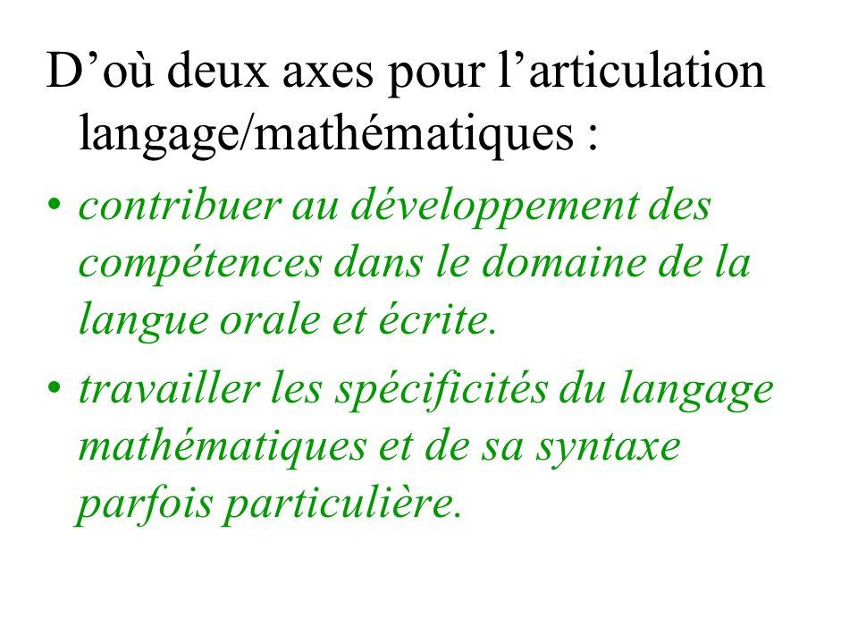 Doù deux axes pour larticulation langage/mathématiques : contribuer au développement des compétences dans le domaine de la langue orale et écrite. tra
