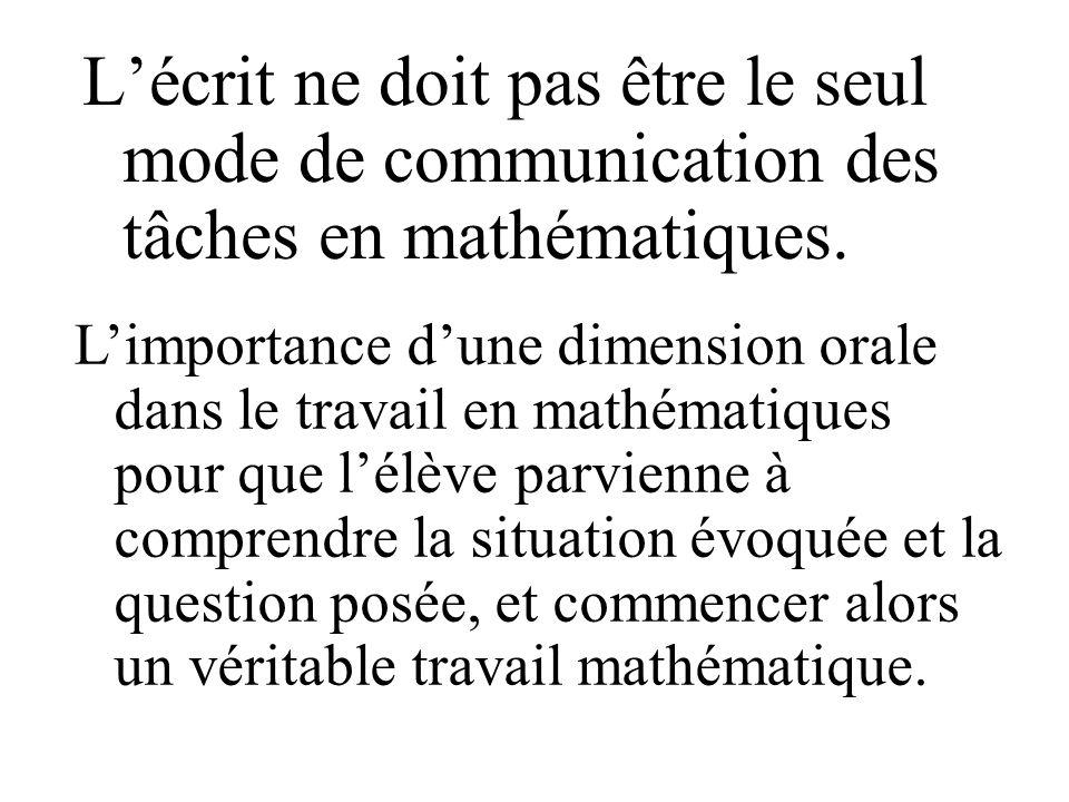 Lécrit ne doit pas être le seul mode de communication des tâches en mathématiques. Limportance dune dimension orale dans le travail en mathématiques p
