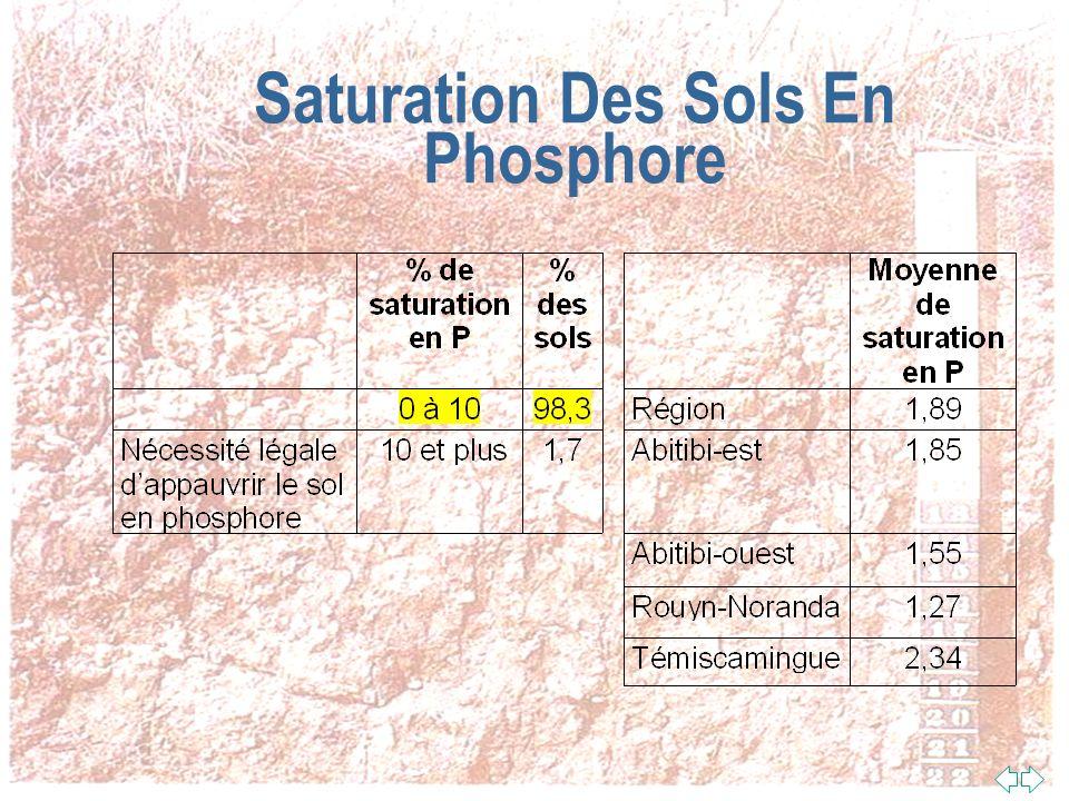 Saturation Du Sol En Phosphore n La saturation du sol en phosphore est un paramètre très important du point de vue environnemental n Plus un sol est saturé en phosphore, moins il le retient fortement et plus il risque de polluer leau souterraine avec le phosphore qui sen écoule n Au plan de la loi, les sols qui ont 10 % et plus de saturation en phosphore devront bientôt faire lobjet de mesure pour les appauvrir en phosphore n Sat.