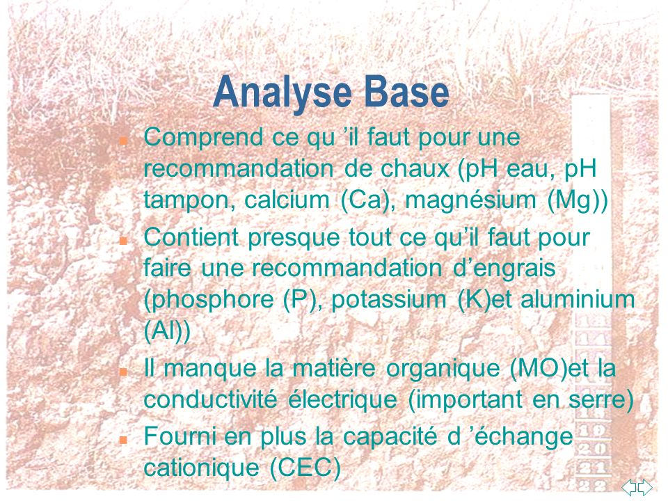 Interprétation des analyses de sol standard en serre (suite)