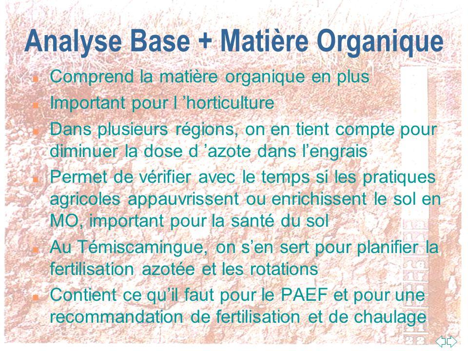 Analyse Base n Comprend ce qu il faut pour une recommandation de chaux (pH eau, pH tampon, calcium (Ca), magnésium (Mg)) n Contient presque tout ce qu