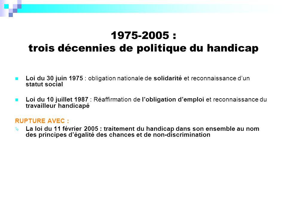 1975-2005 : trois décennies de politique du handicap Loi du 30 juin 1975 : obligation nationale de solidarité et reconnaissance dun statut social Loi