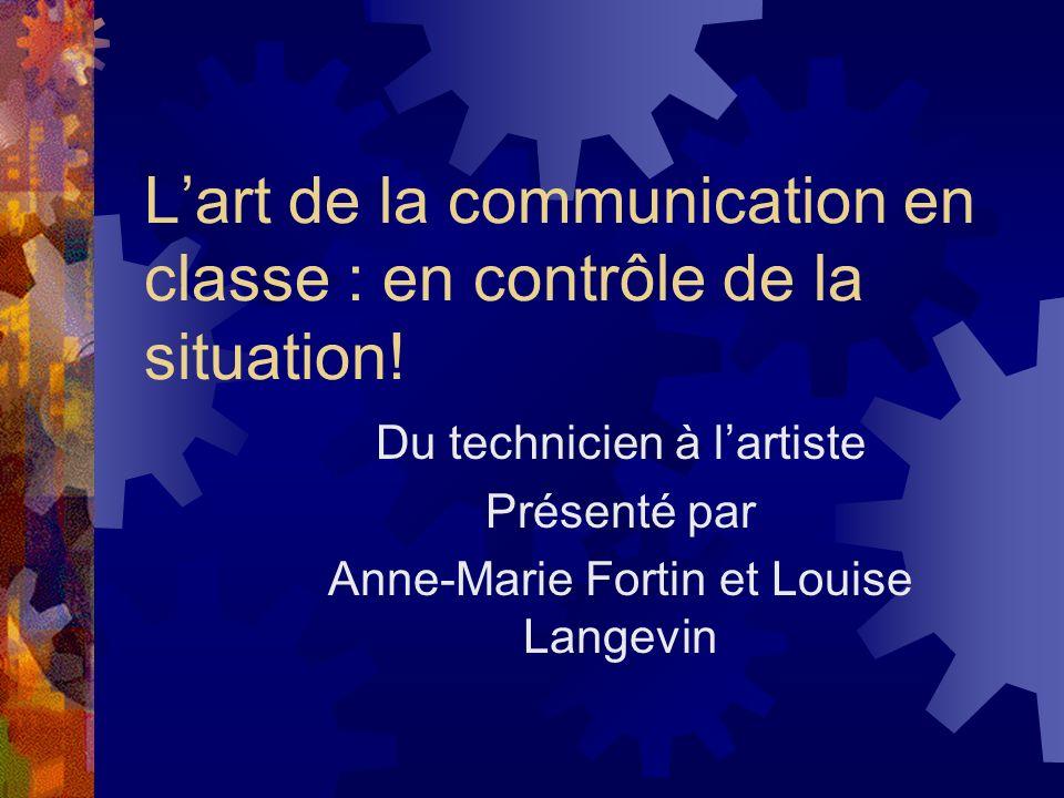 Lart de la communication en classe : en contrôle de la situation! Du technicien à lartiste Présenté par Anne-Marie Fortin et Louise Langevin