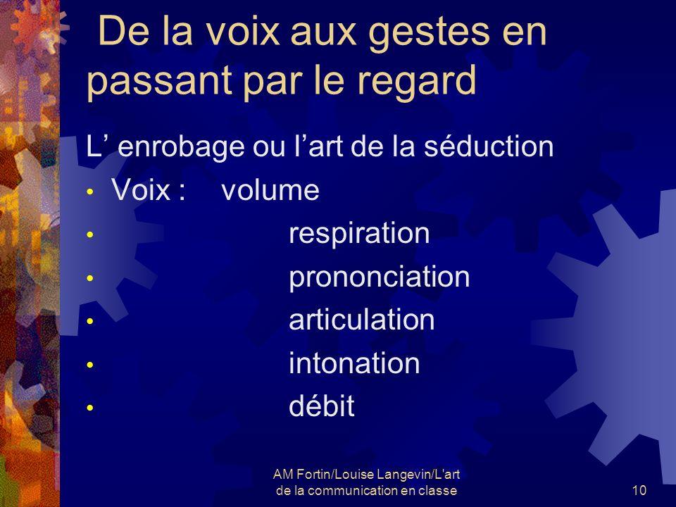 AM Fortin/Louise Langevin/L'art de la communication en classe10 De la voix aux gestes en passant par le regard L enrobage ou lart de la séduction Voix