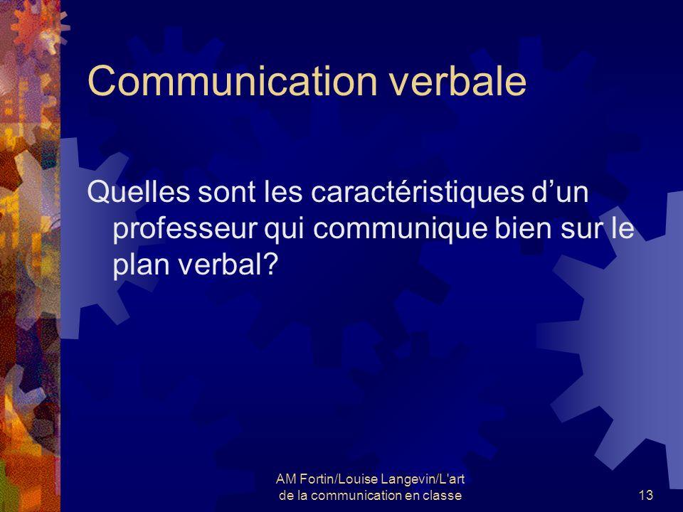 AM Fortin/Louise Langevin/L'art de la communication en classe13 Communication verbale Quelles sont les caractéristiques dun professeur qui communique