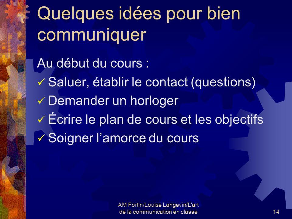 AM Fortin/Louise Langevin/L'art de la communication en classe14 Quelques idées pour bien communiquer Au début du cours : Saluer, établir le contact (q