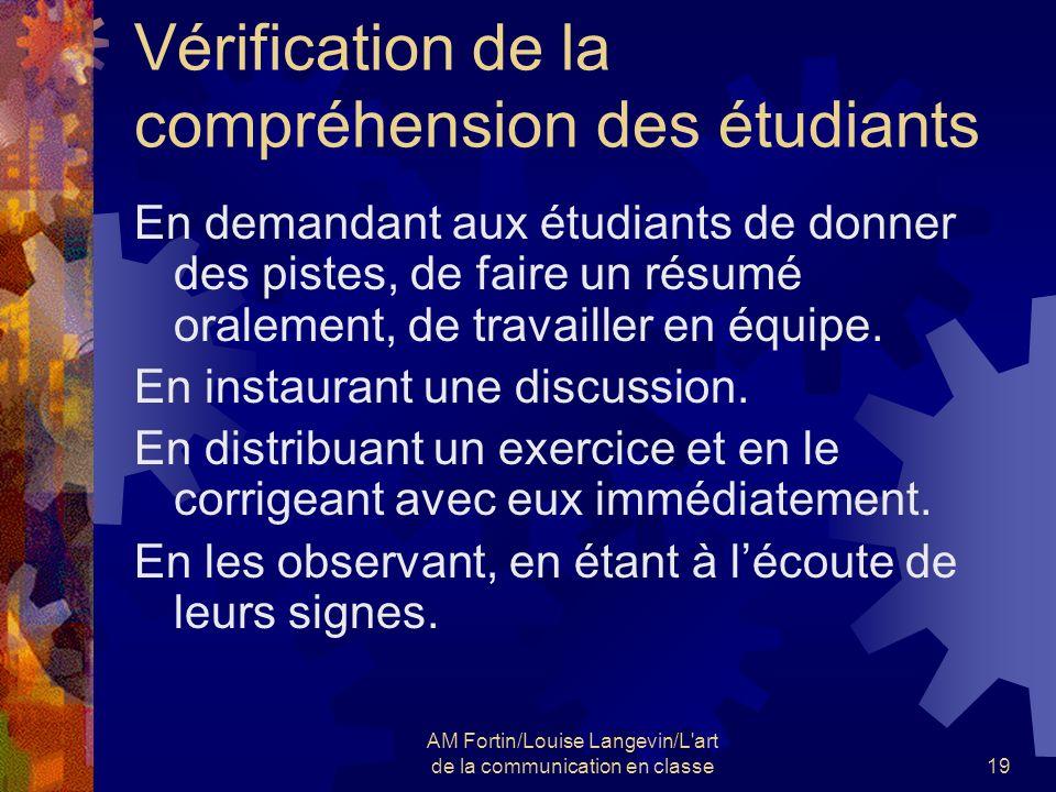 AM Fortin/Louise Langevin/L art de la communication en classe20 Vérification de la compréhension des étudiants Y a-t-il dautres options.